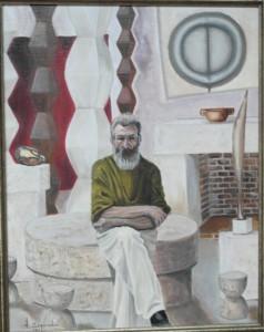 Brancusi in zijn atelier, techniek olie op doek.